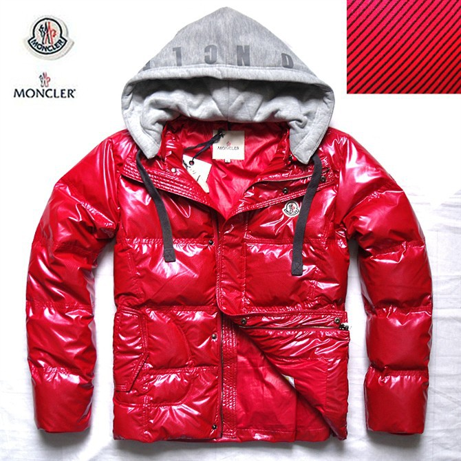Cheap Moncler Jackets For Men Red With Mock Collar Zipper MC1016 Sale